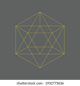 Geometric Icosahedron crystal grid perfect for icon and logo