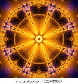 Geometric kaleidoscope gold multicolored seamless pattern. Illustration for design.