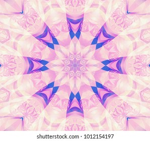 Geometric kaleidoscope retro seamless pattern. Abstract background. Illustration for design. Bright flower.