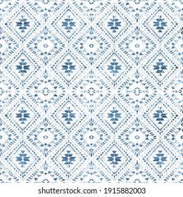 Geometric kilim ikat pattern with grunge texture