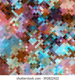 Geometric Line Pattern Over Color Squares