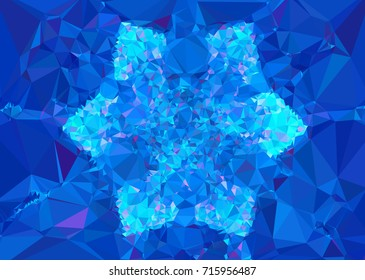 Geometric low polygonal background. Abstract mosaic backdrop in blue color. Design element for book covers, presentations layouts, title backgrounds. Raster clip art.