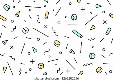 Geometric memphis pattern. Seamless graphic pattern 80s-90s trendy styles, black background. Colorful pattern with abstract different shapes objects for wrapping paper, background. illustration