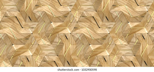 Geometric module wood design 3d panels with gold decor Material wood oak and gold. High quality seamless realistic texture.