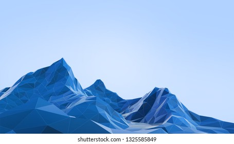 Geometric Mountain Landscape art Low poly with Colorful  Blue Background- 3d rendering