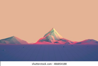 Geometric Mountain Landscape with Colorful Gradient