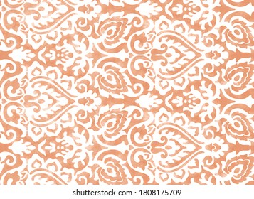 Geometric natural watercolor damask texture pattern