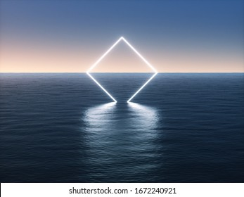 Geometric neon light portal on the sea. 3d rendering - illustration.