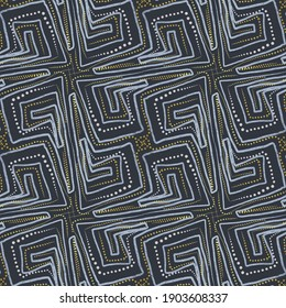 Geometric ornament in boho style. Seamless pattern. Beautiful print for fabric and clothing, and for interior design.