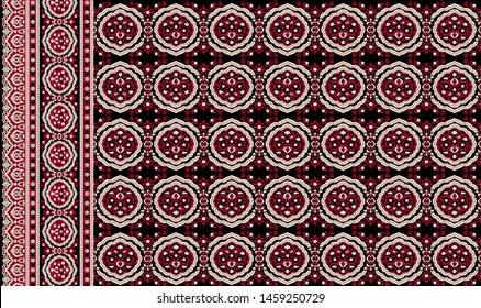 Geometric ornament texture with linear stars, angular geometric figures. Abstract geometric seamless pattern. High Resolution Sindhi Ajrak Border Design. For furniture, Fabric, Textile - Illustration