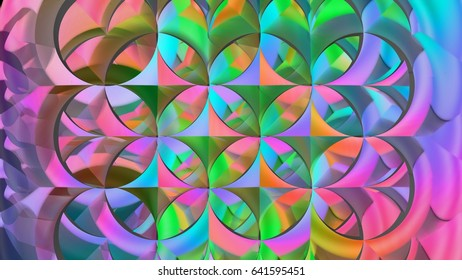 geometric Overlapping circle of life structure oil paint abstract design with hard colors full view