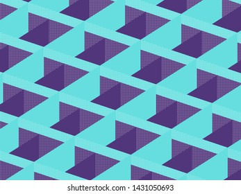 Geometric pattern background with purple and blue facets. Light halftone effect