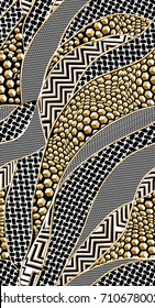 Geometric pattern.. Black anc gold background..for textile, wallpaper, pattern fills, covers, surface, print, gift wrap, scrapbooking, decoupage.Seamless pattern