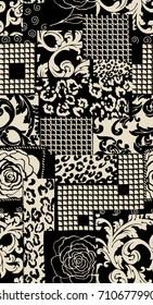 Geometric pattern.. Black anc white background..for textile, wallpaper, pattern fills, covers, surface, print, gift wrap, scrapbooking, decoupage.Seamless pattern