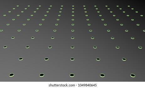 Geometric pattern of glowing dots in 3d on grey backgroud.