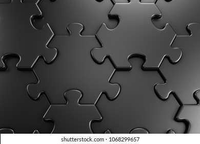 Geometric Pattern Of Jigsaw Puzzle. Close-up view of assembled hexagonal parts of black colored jigsaw puzzle. 3d rendering graphics.