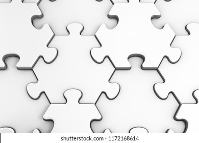 Geometric Pattern Of Jigsaw Puzzle. Close-up view of assembled hexagonal pieces of white colored jigsaw puzzle. 3d rendering graphics.