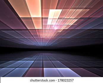 Geometric pattern of light rays receding into the distance - abstract illustration for topics such as computing, networks and information technology