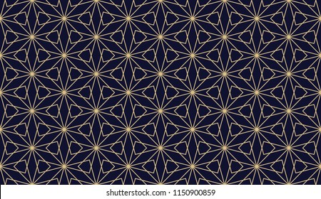 The geometric pattern with lines. Seamless background. Dark blue and gold texture. Graphic modern pattern. Simple lattice graphic design