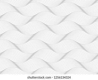 The geometric pattern with wavy lines. Seamless background. White and grey texture. Simple lattice graphic design.