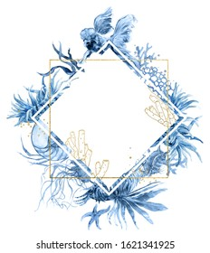 Geometric polygonal golden frame. Navy Blue Coral Watercolor Wreath. Fish, Jellyfish, Hippocampus, Actinium print for wedding invitation, story template, greeting card