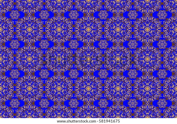 Geometric repeating raster ornament with golden elements. Seamless abstract modern pattern on a blue backdrop. Blue and golden seamless pattern.