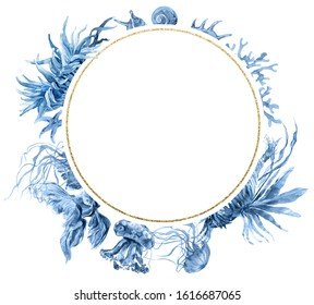 Geometric round golden frame. Navy Blue Coral Watercolor Wreath. Fish, Jellyfish, Hippocampus, Actinium print for wedding invitation, story template, greeting card