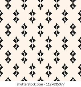 Geometric seamless pattern. Abstract monochrome background with curved shapes, rhombuses, feathers. Black and white repeat texture, art deco style. Ornamental design for decor, textile. - Stock image