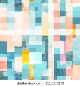 Geometric seamless pattern with multicolor stripes and teals. Trendy abstract background.
