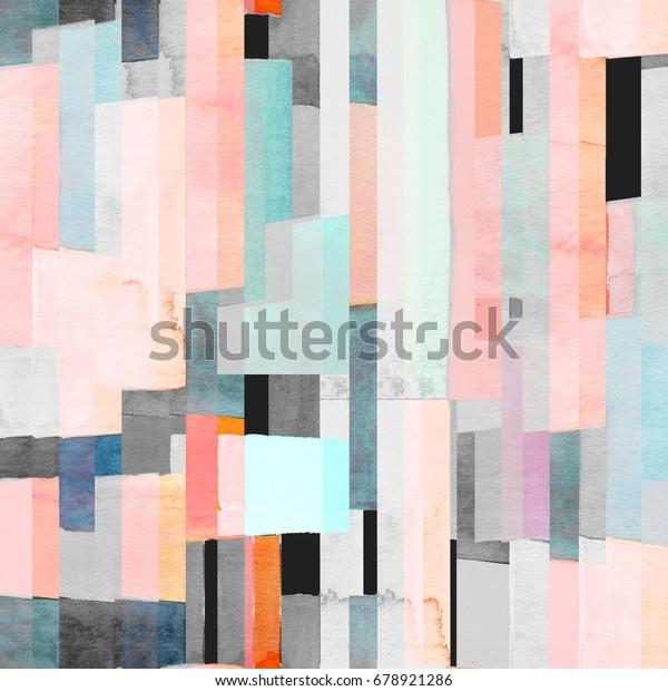 Геометрический бесшовный рисунок с многоцветными полосами и чиски. Модный абстрактный фон.