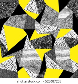 Geometric seamless pattern in retro style. Vintage background.Triangles and hand drawn patterns