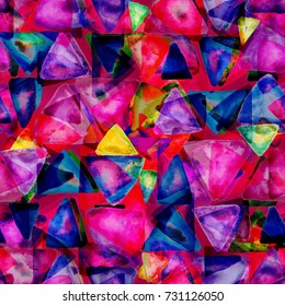 Geometric seamless pattern. Watercolor background. Abstract texture.