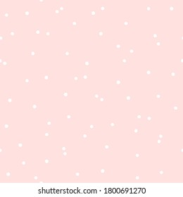 Geometric seamless pattern with white circles on a pink isolated background. Stylized print, graphic dots, peas. Uneven edges. Great for fabric, wallpaper, texture, wrapping. Raster.