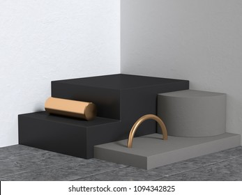 geometric shape abstract scene black gold white corner wall 3d rendering