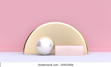 geometric shape form white sphere gold semi circle-round soft pink square white floor pink background-wall abstract minimal background-scene 3d rendering