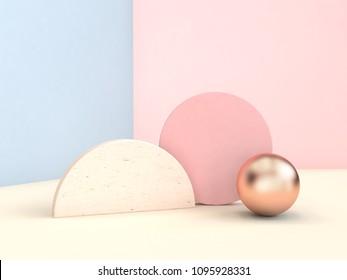 geometric shape minimal pastel scene 3d rendering blue pink wall