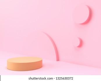 Geometric shape pink scene minimal 3d rendering