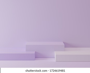 Geometric shape podium for product display or exhibition stand on pastel purple background. 3D rendering.