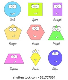 geometric shapes with funny faces - school education for kids