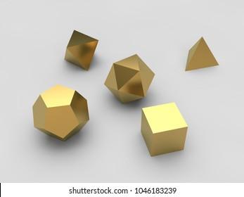 geometric shapes octahedron, tetrahedron, hexahedron, dodecahedron, icosahedron of gold, set, white background, isolated. 3D rendering