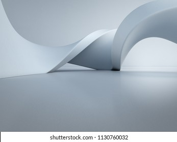 Geometric shapes structure on empty concrete floor with white wall background in hall or modern showroom, Construction technology for future architecture - Abstract interior design 3d illustration