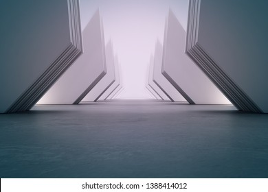 Geometric shapes structure on empty concrete floor with white wall background in hall or modern showroom. Construction technology for future architecture. Abstract interior design 3d illustration
