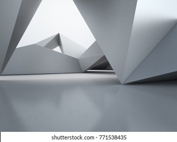 Geometric shapes structure on empty concrete floor with polygonal wall background in hall or modern showroom, Construction technology for future architecture - Abstract interior design 3d illustration