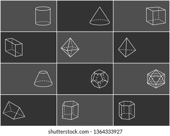 Geometric shapes and text sample cylinder dodecahedron icosahedron cone cube cuboid triangular prism set raster illustration