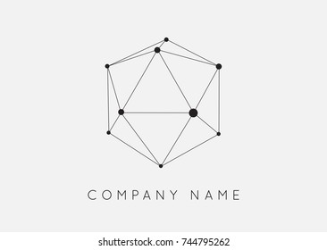 Geometric Shapes Unusual and Abstract  Raster Logo. Polygonal Colorful Logotypes.