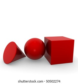 geometric solid red