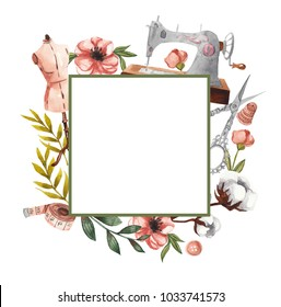 Geometric square frame with sewing items and floral elements. Watercolor illustration on white isolated background. Floral frame for text