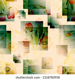 geometric stylish square transparent enlightened layers spectacular fashionable seamless pattern abstracts flowers
