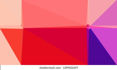 geometric triangles style in crimson, light pink and orchid color. abstract triangles composition. for poster, cards, wallpaper or texture.