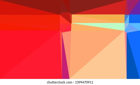 geometric triangles style in crimson, royal blue and light salmon color. abstract triangles composition. for poster, cards, wallpaper or texture.